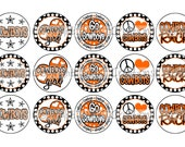 Cowboys INSPIRED Orange & Black School Spirit Sports Bottle Cap Images 4x6 Printable Bottlecap Collage INSTANT DOWNLOAD
