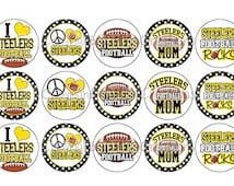 Steelers FOOTBALL Black & Yellow School Spirit Bottle Cap Images 4x6 Printable Bottlecap Collage INSTANT DOWNLOAD