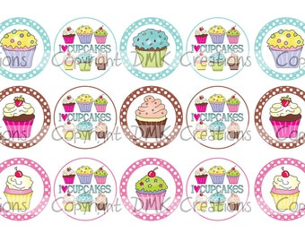 I Love Cupcakes Bottle Cap Images 4x6 Printable Bottlecap Collage INSTANT DOWNLOAD