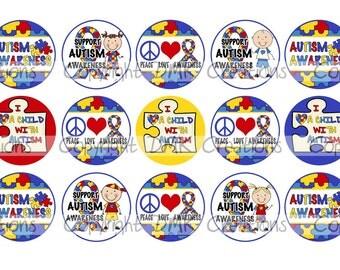 Autism Awareness Support  Bottle Cap Images 4x6 Printable Bottlecap Collage INSTANT DOWNLOAD