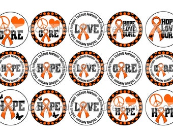 Hope Love Cure Leukemia Awareness Orange Ribbon Bottle Cap Images 4x6 Printable Bottlecap Collage INSTANT DOWNLOAD