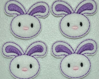 Purple Spring Bunny Felt Embroidered Embellishment Clippie Cover SET of 4