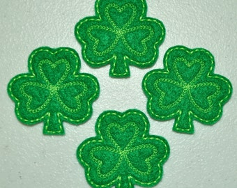 St. Patty's Day Shamrock Lime Green on Green Felt Embroidered Embellishment Clippie Cover SET of 4