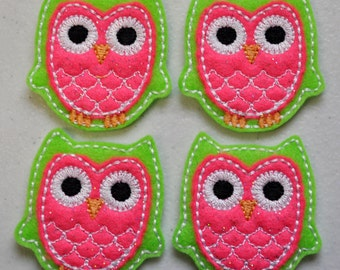Spring Owl Lime Green & Sparkle Pink Felt Embroidered Embellishment Clippie Cover SET of 4