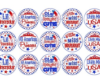 Star Spangled Cutie 4th of July Bottle Cap Images 4x6 Printable Bottlecap Collage INSTANT DOWNLOAD