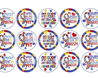 Support Autism Awareness Bottle Cap Images 4x6 Printable Bottlecap Collage INSTANT DOWNLOAD