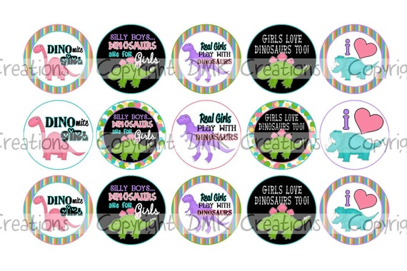 Dino MITE Girl Bottle Cap Images 4x6 Printable Bottlecap Collage 1 inch Circle INSTANT DOWNLOAD