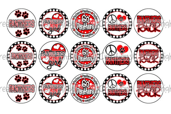 Panthers INSPIRED Black & Red Sports Team School Spirit Bottle Cap Images 4x6 Printable Bottlecap Collage INSTANT DOWNLOAD