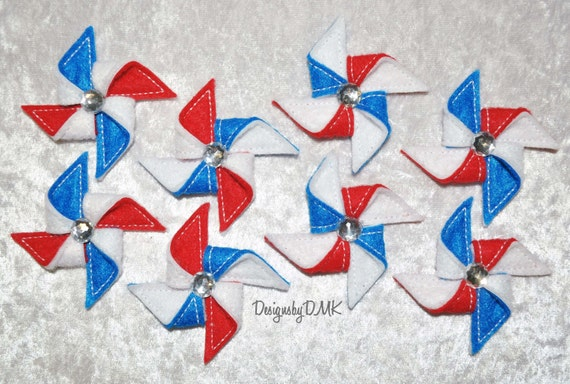 Patriotic Pinwheels Assortment on Red, White, & Blue Felt Embroidered Embellishment Clippie Cover SET of 8