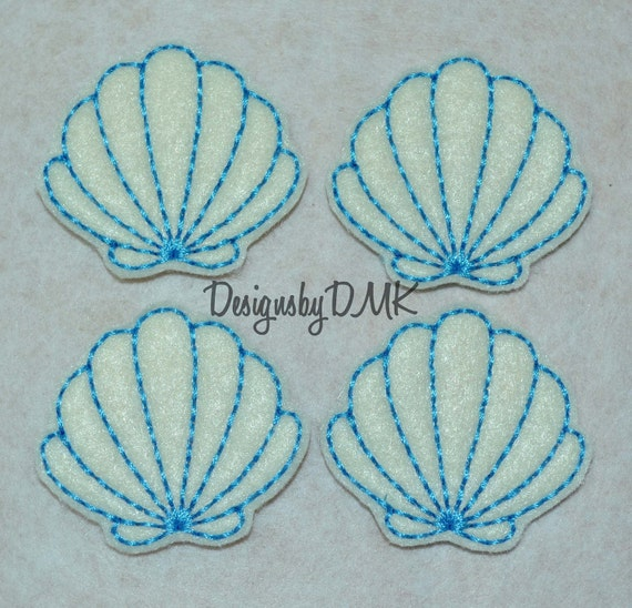 Seashell Applique Blue Stitching on Cream Felt Embroidered Embellishment Clippie Cover SET of 4
