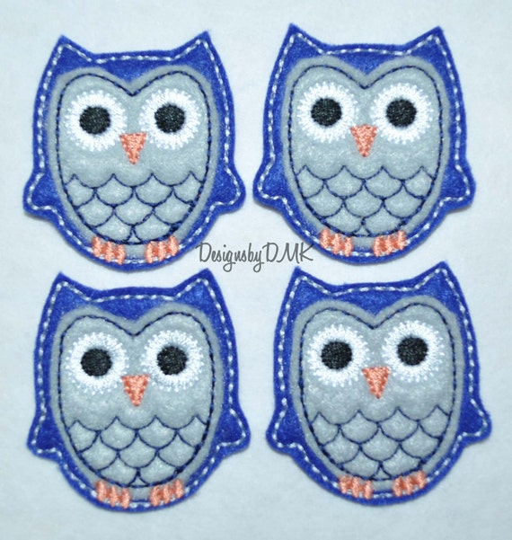 Dark Blue Owl with Grey Belly Felt Embroidered Embellishment Applique Clippie Cover SET of 4