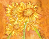 Sunflower Watercolor Painting Giclee  Greeting Card