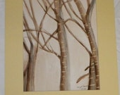 Winter Trees Original Watercolor Painting