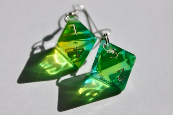 translucent, green, eight sided dice earrings