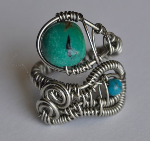 Wrapped wire ring, turquoise beads, nickel silver wire, adjustable