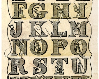 Vintage  Alphabet Print - 11 x 17 inch