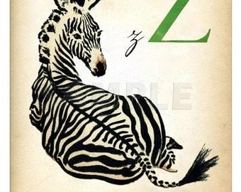 Zebra - Vintage French Letter  Print - 11 x 14 inches