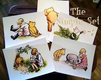 Winnie the Pooh and Friends Simple Set -  Tigger, EEyore, Piglet-Vintage Print Repro -  8.5x11
