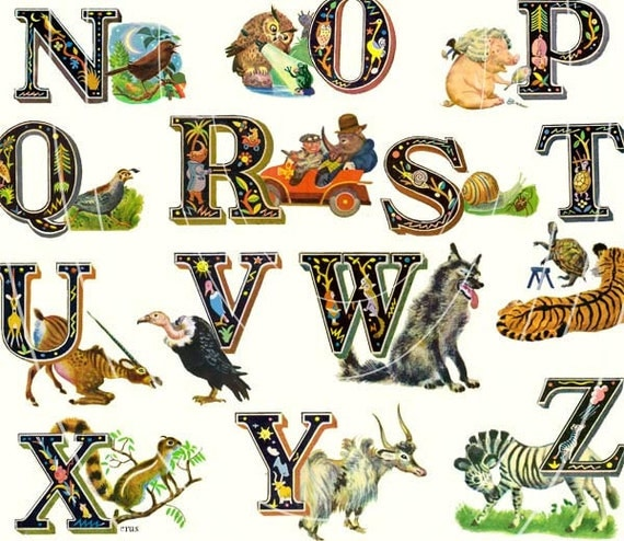 Fantastically Fun Alphabet Print - Charaterized Letters - Each letter is Unique -   11 x 17 inch