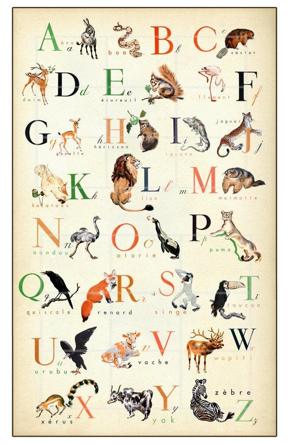 french alphabet wonderful animal alphabet print 11 x 17. Black Bedroom Furniture Sets. Home Design Ideas
