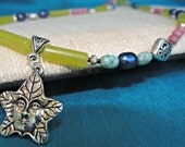 Greenman, Olive Jade, Verascite and Rhodonite Necklace, One of a Kind