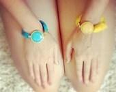 sky blue blue simple large lollipop stone in golden frame bracelet  blue silk gemstone bracelet