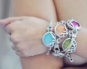 ONE UNIQUE  fashion organic leaf bold trendy gemstone bracelet light BLUE sky stone silver frame  leather cord israel