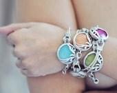 UNIQUE  fashion organic leaf bold trendy gemstone bracelet milky white stone silver frame  leather cord israel