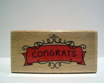 CONGRATS Decorative Scroll Wooden Mounted Rubber Stamping Block DIY Party Invitations, Greeting Cards, and Scrapbooking