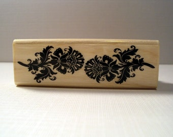 Damask Flower Border Wooden Mounted Rubber Stamping Block DIY cards, scrapbooking, tags, Greeting Cards