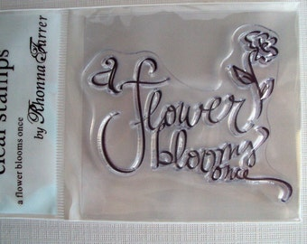 A Flower Blooms Once clear mini cling stamp for acrylic block STAMPING Scrapbooking, Tags, & Cardmaking Autumn Leaves by Rhonna Farrer