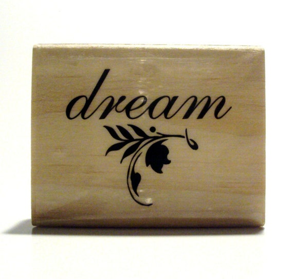 DREAM Wooden Mounted Rubber Stamping Block DIY for Showers, Invitations, Greeting Cards, and Scrapbooking