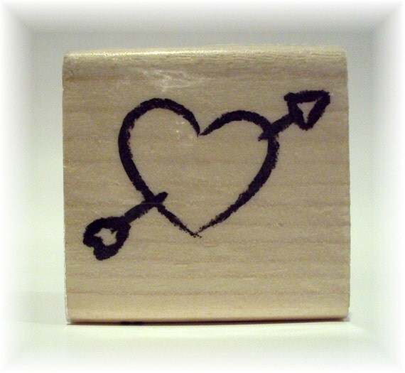Shot Through the Heart Wooden Mounted Rubber Stamping Block DIY cards, scrapbooking, tags, Valentines, Greeting Cards, and Scrapbooking