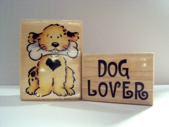Dog Lover Wooden Mounted Rubber Stamping Block DIY cards and scrapbooking by Rubber Stampede