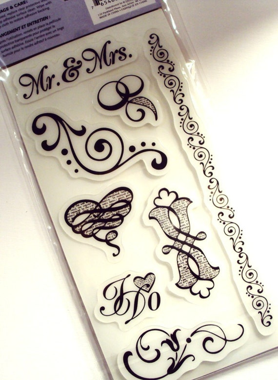 MR. & MRS. 8 pieces Rubber Cling Stamp Set Heidi Grace Designs collection