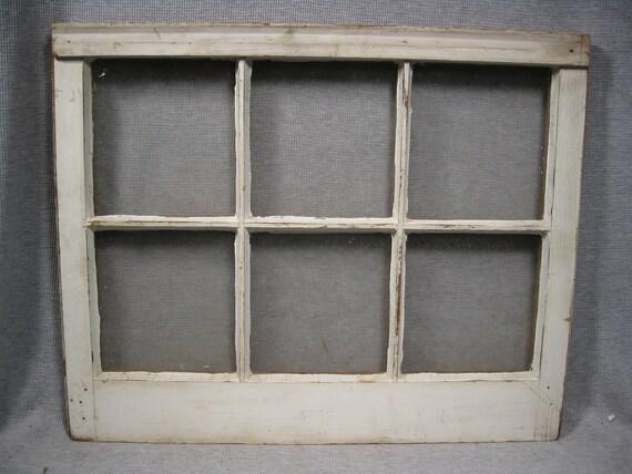 Vintage Salvaged 6 Pane Window with Glass