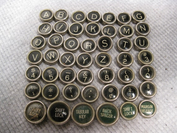 48 Typewriter Keys Vintage Black & Green with White Letters