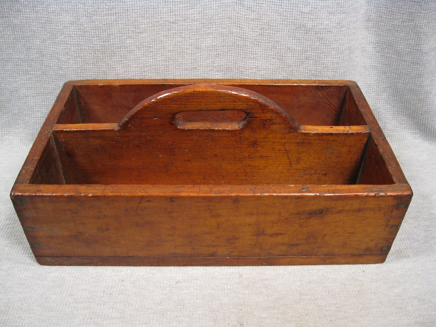 Old wood garden tool carrier cutlery tray herb pot holder for Small garden tool carrier