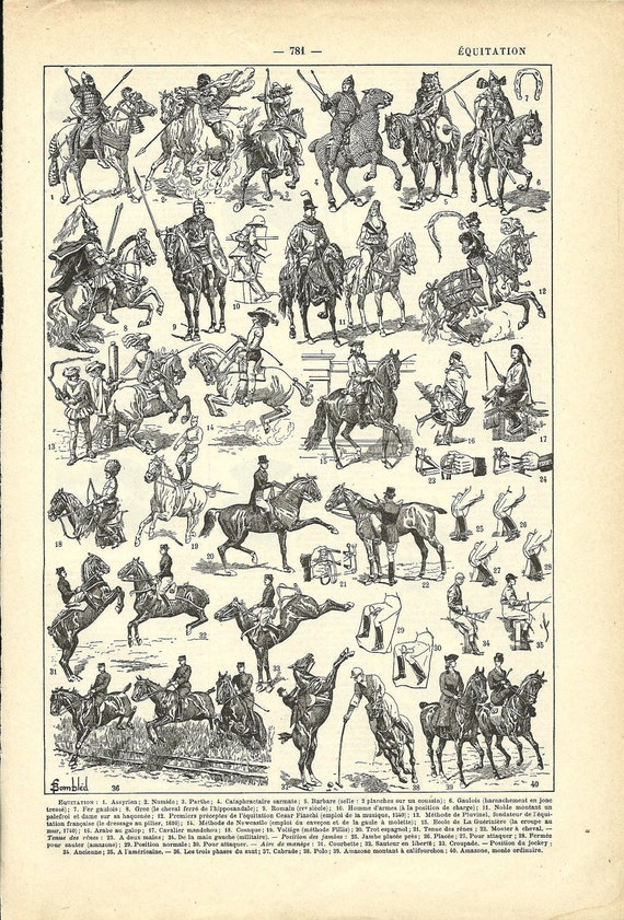 1922 - Poster - HORSE-RIDING - French Dictionary Illustration