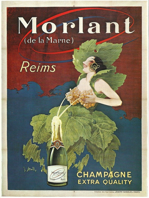 Antique French WINE advertisement poster sexy girl 1920s