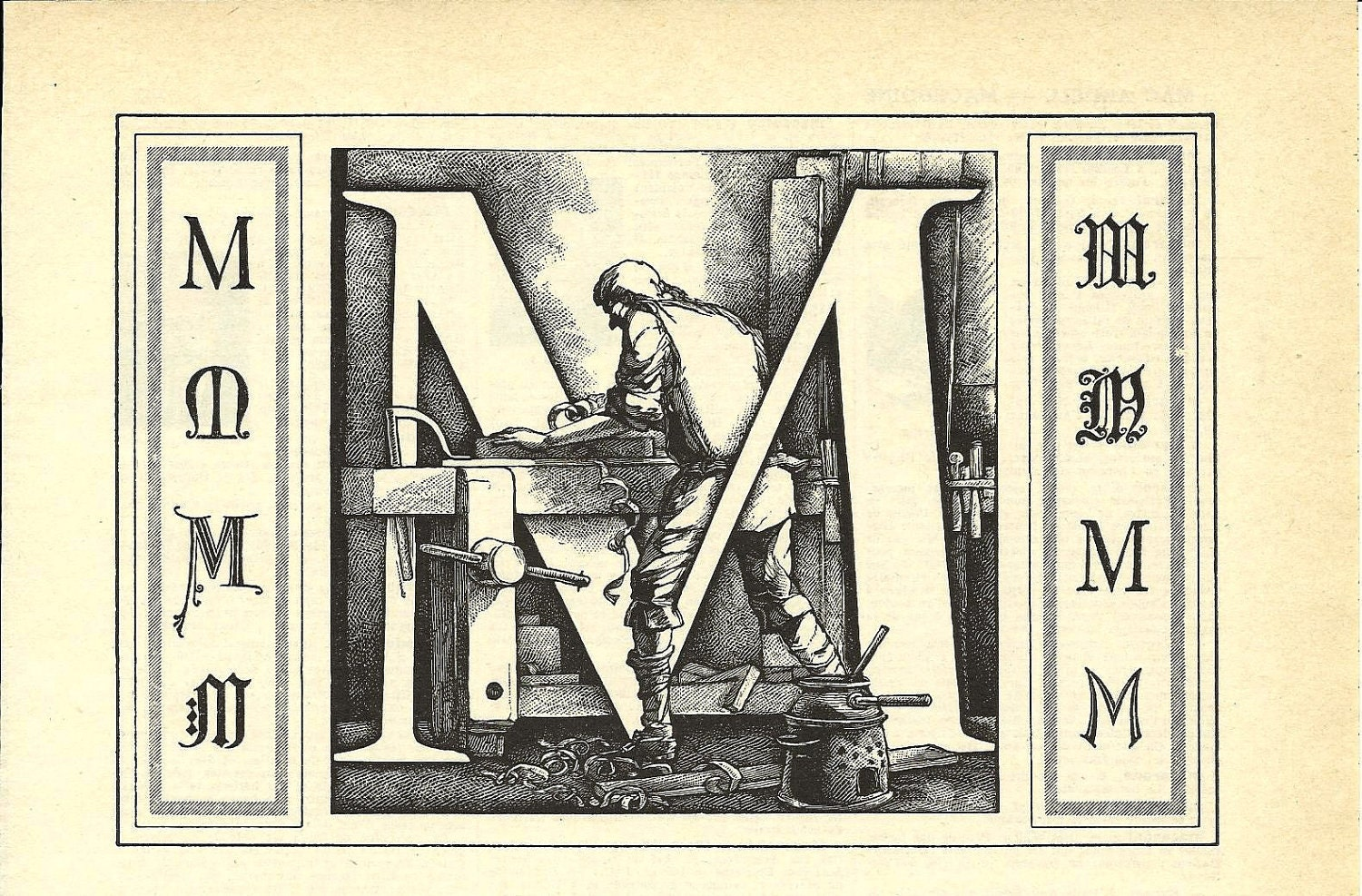 Letter M Calligraphy French Dictionary Illustration 1950