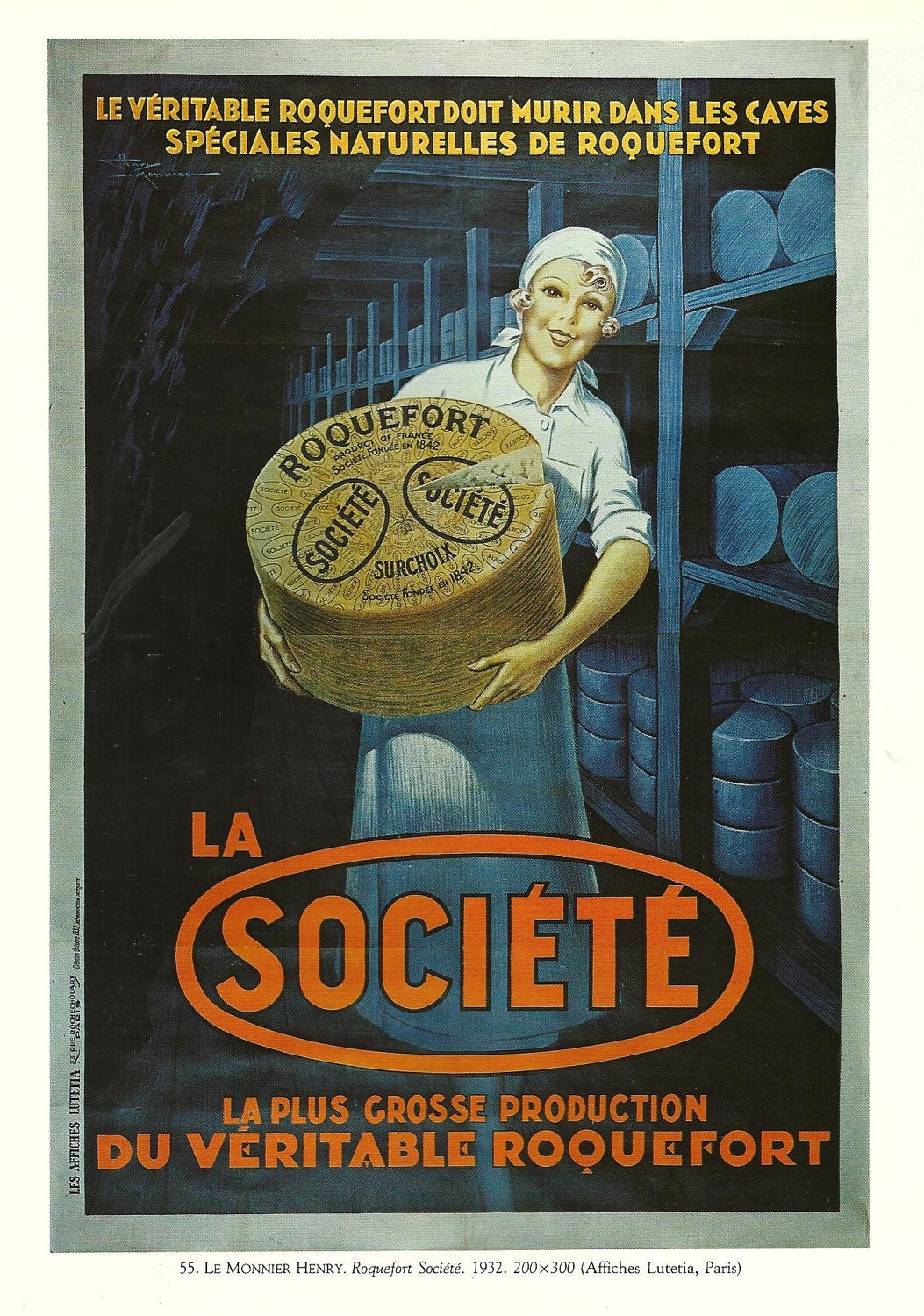 Vintage French FOOD advertisement poster cheese blue girl