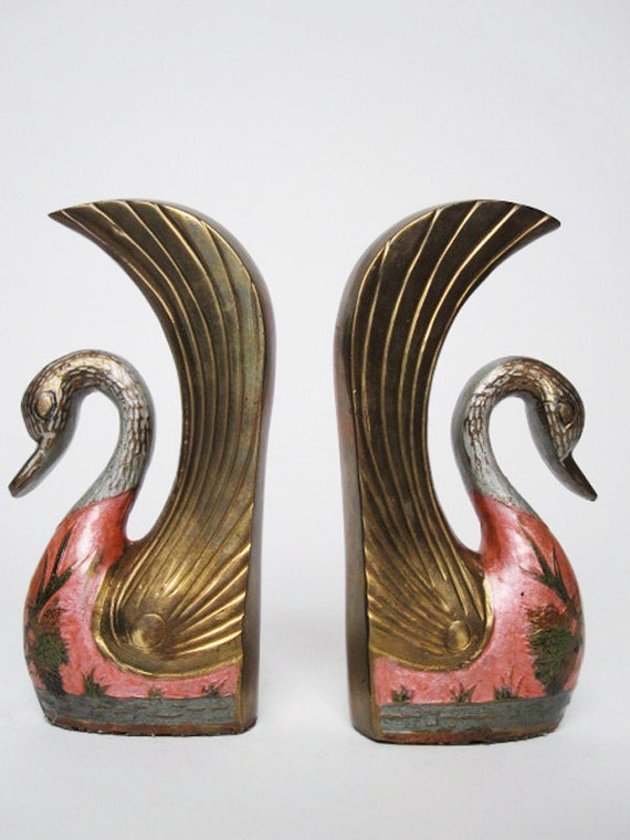 decorative painted brass swan bookends