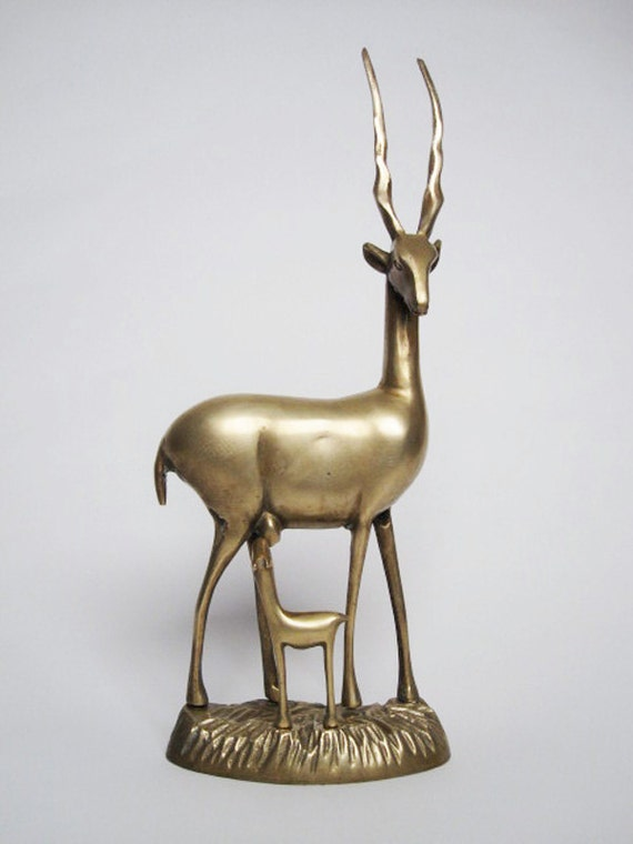 Vintage Brass Mother and Baby Gazelles