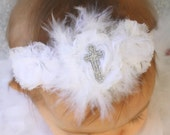 Baby Headband - Baptism Headband - White Christening  Shabby Flower Headband with Marabou Feathers and Sparkle Cross