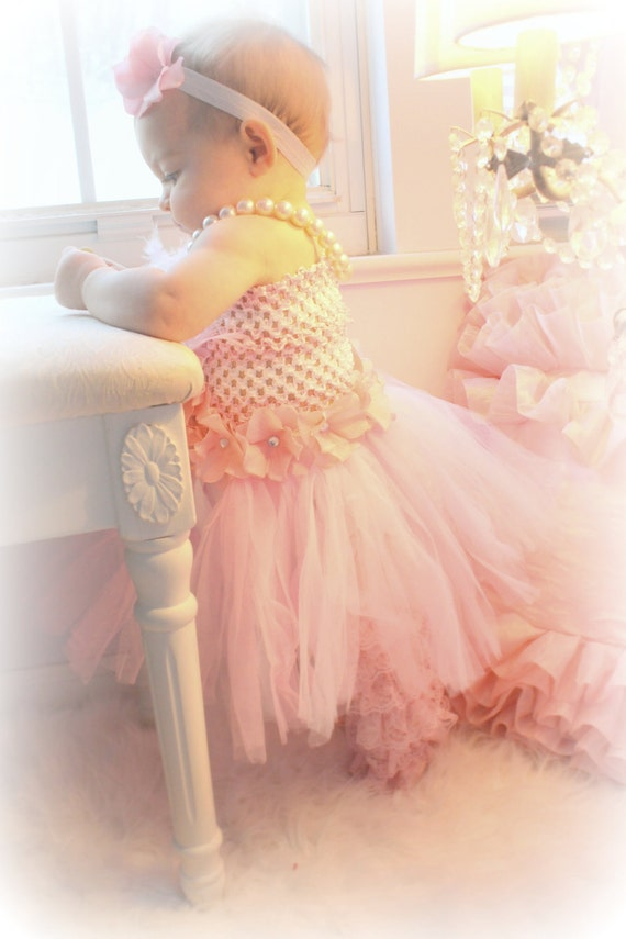 Baby Dress Pink & White Tutu dress with Feathers and