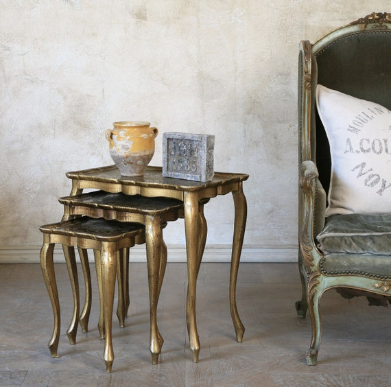 Gold Nesting Tables ~ Items similar to vintage gold nesting tables on etsy