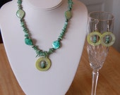 Mother of Pearl and Tree Agate Necklace and Earring Set