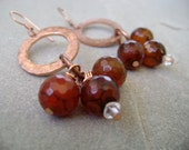 Dragon Vein Agate and Copper Dangle Earrings