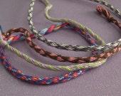 Custom Flowers, Diamonds, Hearts, or Stripes Kumihimo Friendship Bracelet or Anklet